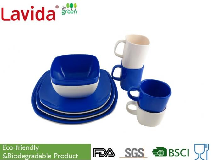 Blue And White Outdoor Dinnerware Sets Melamine Unbreakable Heat Resistance