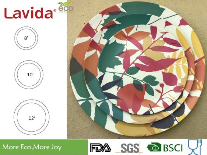 Round Shape Reusable Bamboo Dinner Plates Smooth Surface For Dining / Kitchen