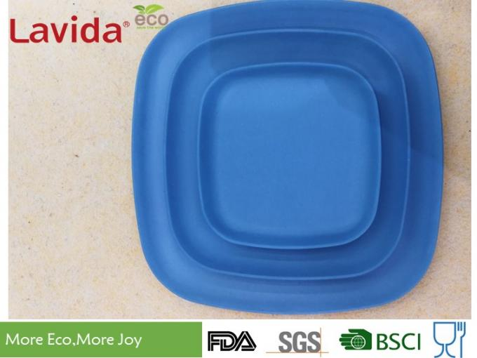 "Bright Color Durable Bamboo Square Plates BPA / Phthalate Free 10"" 25cm For Cafeteria"