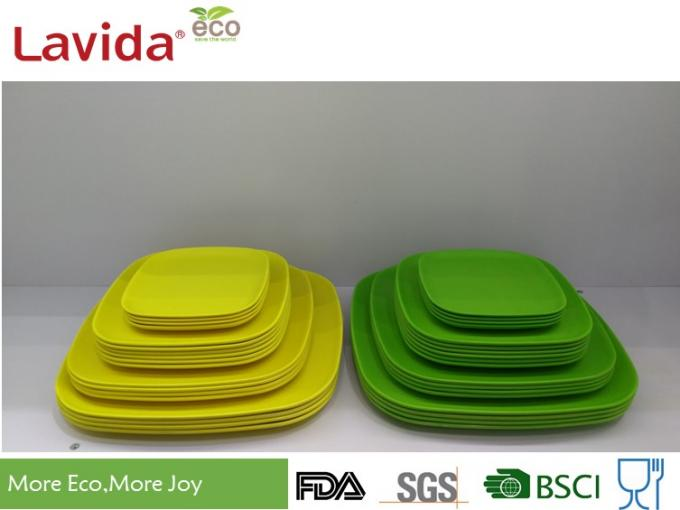 Square Shape Bamboo Recyclable Plates Shatter - Proof Multiple Sizes For Special Events