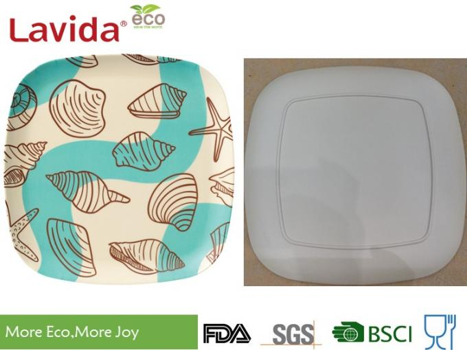 Cute fresh Ocean sea shell Pattern Bamboo Fibre Square Side Plate Sandwich dish 5.5 inch 14cm for restaurant