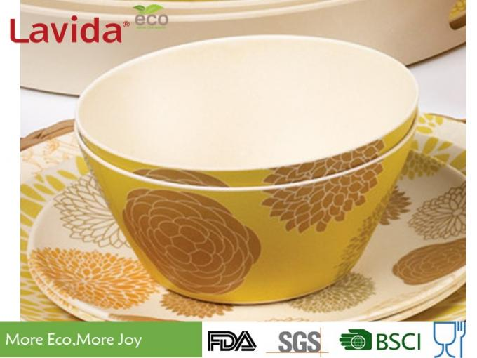 Daisy Flower Prints Bamboo Kitchen Bowls BPA Free Smooth Surface Mat Finished