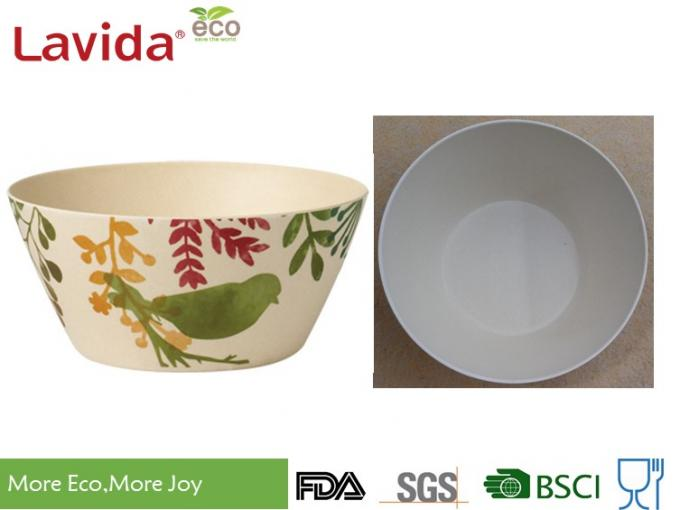7 Pieces Set Eco Bamboo Fiber Bowls , Watercolor Birds Print Melamine Serving Bowls