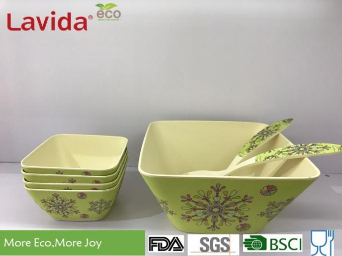 Abstract Flower Design Bamboo Fiber Bowls Square Shape High Strength Food Safe