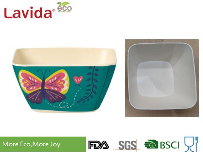 Unbreakable Bamboo Cereal Bowls Eco - Friendly Garden Butterfly Printing Diverse Styles