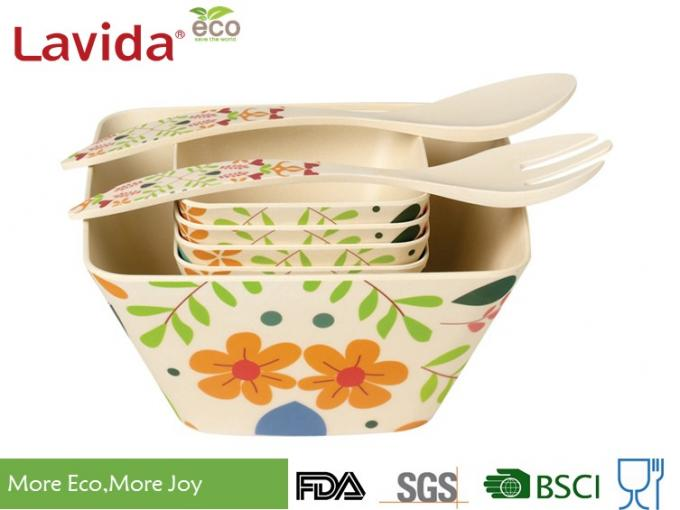 Large Size Eco Bamboo Serving Bowl Easy Cleaning Anti - Bacteria Heat Resistance