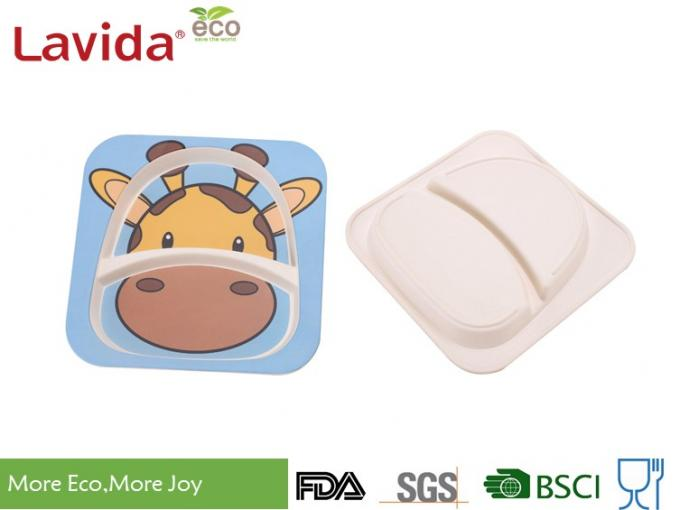 Biodegradable Children's Bamboo Dinnerware Colorful Cartoon Giraffe Animals Print