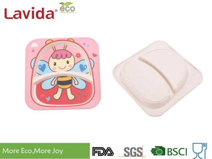 Square Shape Baby Bee Print Childrens Bamboo Meal Set Non - Fragile High Strength