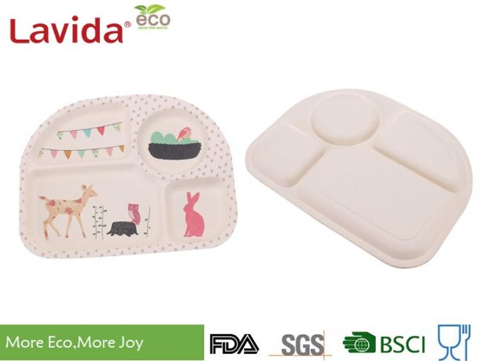 Animal Word Print Firm Bamboo Childrens Dinner Set Biodegradable For Indoor And Outdoor