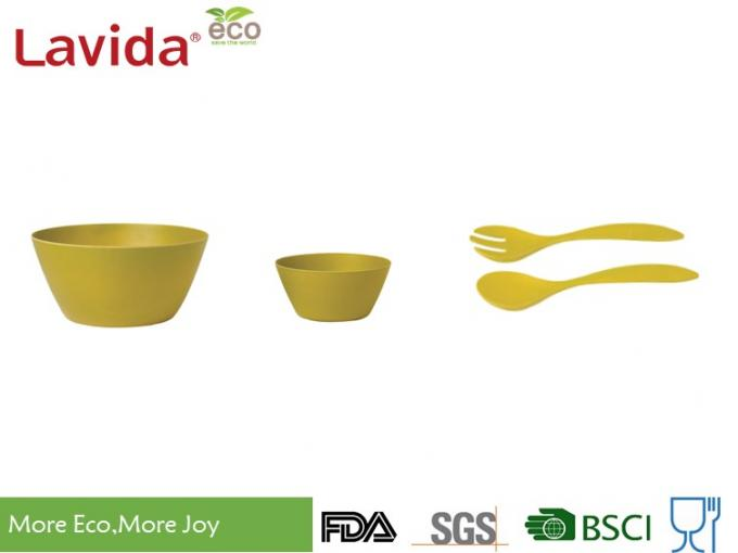 Biodegradable Bamboo Fiber Dinnerware , Non - Flammable Bamboo Fibre Dinner Set