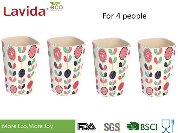 Firm Sturdy Eco Bamboo Fiber Cup Hand Drawn Flower Printed For Fast Food Restaurant