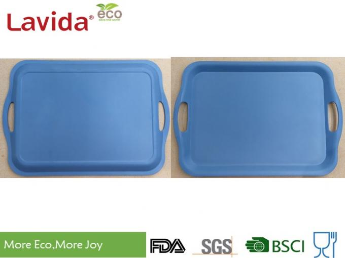 Pinic BBQ Disposable Latest Design Bamboo fibre Tray with carring side handles Navy Blue Natural Plant Fibre Tray Set