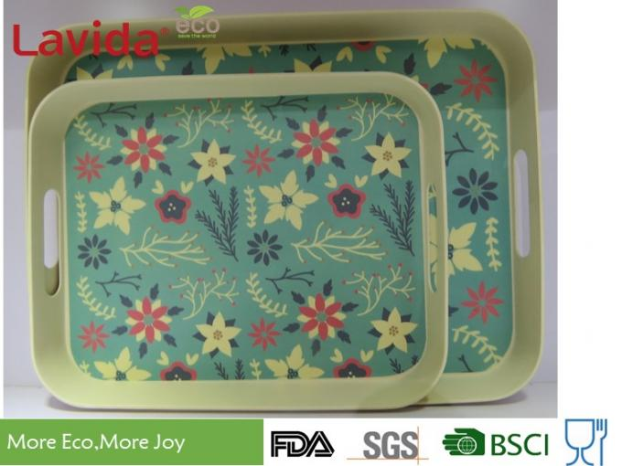 Best Seller Christmas New Design Natural Plant Fibre Tray Set 2 pieces Bamboo fibre Tray Plastic Food Drink Serving Tray