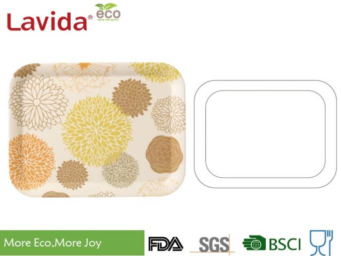 OEM ODM Food Grade Material Biodegradable Bamboo Fibre Tray Dinner Tray Dinning Tray Serving Tray Food Plate with prints