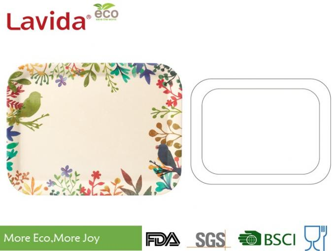 FDA Pass Hand drawn watercolored flowers birds Disposable Eco-friendly Bamboo Fibre Tray Small Medium Large 3-PC Set