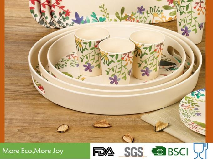 Reusable Recycled Bamboo Fiber Food Serving Trays 3-PC Set Bright Color Smelless