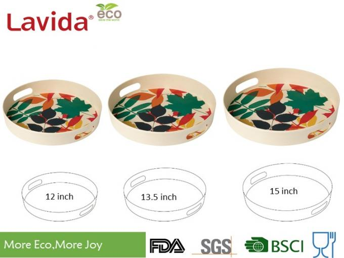Christmast Design Bamboo Fiber Tray Shatter - Proof Mat Finished Smooth Surface