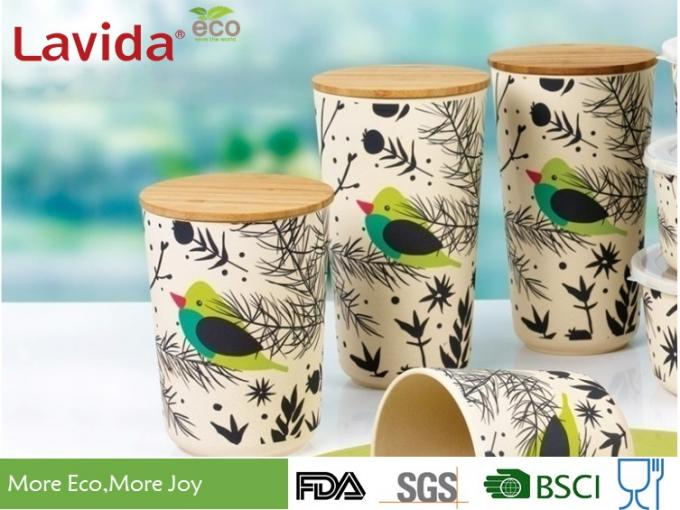 Customized Printing Bamboo Fiber Storage Box , Anti - Bacteria Melamine Food Containers