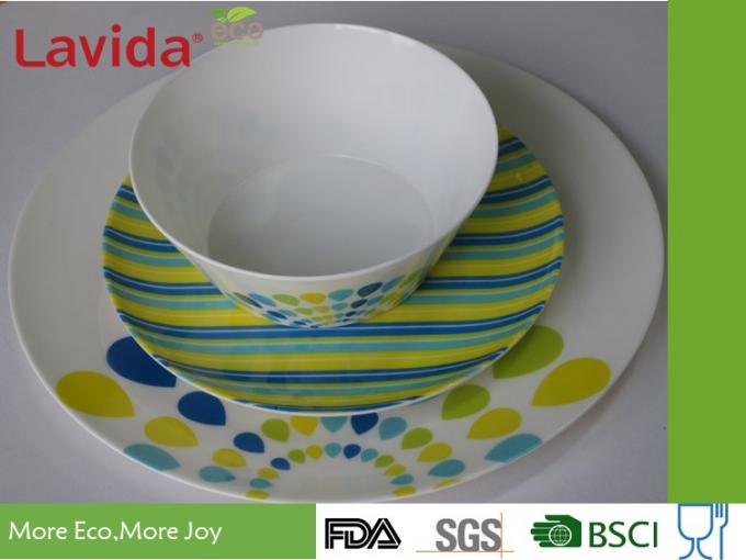 Peacock Style Melamine Dinnerware Sets Smooth Surface Durable Heat Resistance