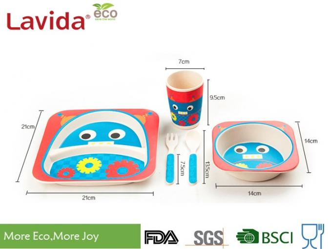 Adorable Cartoon Patterns Bamboo Dinnerware Set Disposable Smooth Surface For Kids