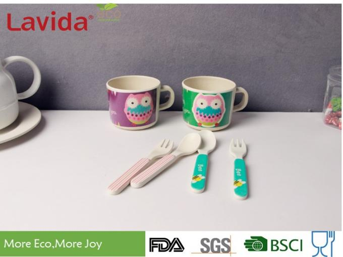 Formaldehyde Free Bamboo Childrens Dinnerware Shatter Proof Cartoon Owl Animals Patterns