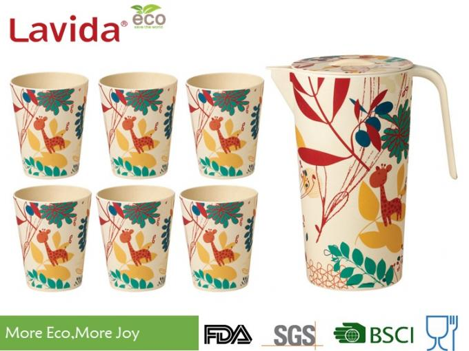 Recycled Wearable Bamboo Water Jug Plastic Water Pitcher Customized Prints