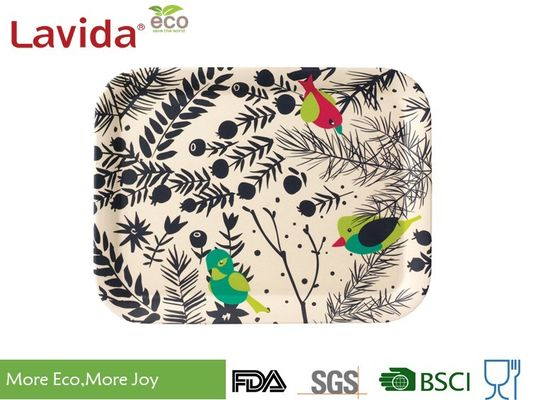 China Stackable Anti - Slip Bamboo Food Tray Nordic Colorful Flower And Bird Style Dishwasher Safe supplier
