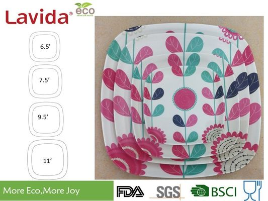 China Fancy Flower Style Bamboo Fibre Plates , BPA Free Bamboo Disposable Dinner Plates supplier