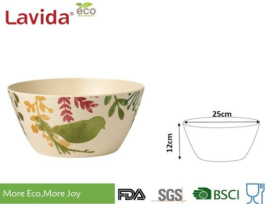 China 7 Pieces Set Eco Bamboo Fiber Bowls , Watercolor Birds Print Melamine Serving Bowls supplier
