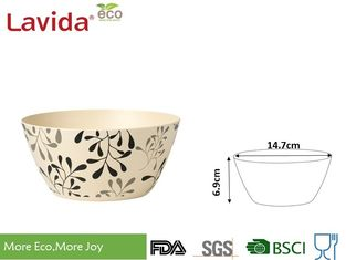 China BBQ Picnic Natural Bamboo Fiber Food Serving Bowls Non - Odor With Fork And Spoon supplier