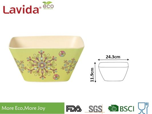 China Abstract Flower Design Bamboo Fiber Bowls Square Shape High Strength Food Safe supplier