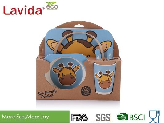 China Biodegradable Children's Bamboo Dinnerware Colorful Cartoon Giraffe Animals Print supplier