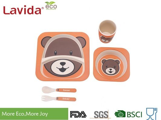 China Bear Shape Non - Toxic Bamboo Childrens Dinner Set , Unbreakable Melamine Dinnerware Sets supplier