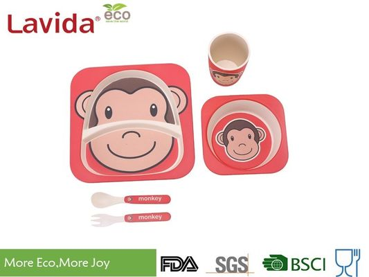 China Mother's Choice Eco Bamboo Childrens Dinner Set Cute Animal Monkey Face Design supplier