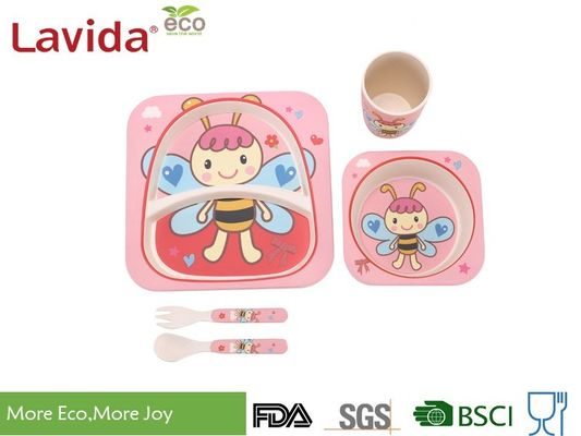 China Square Shape Baby Bee Print Childrens Bamboo Meal Set Non - Fragile High Strength supplier