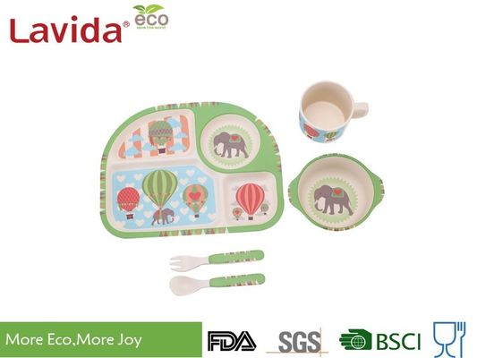 Free Heavy Metals Bamboo Childrens Dinner Set , 5 PC Set Bamboo Fiber Tableware
