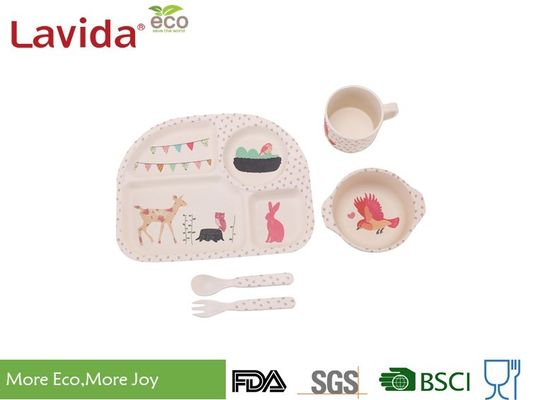 China Animal Word Print Firm Bamboo Childrens Dinner Set Biodegradable For Indoor And Outdoor supplier