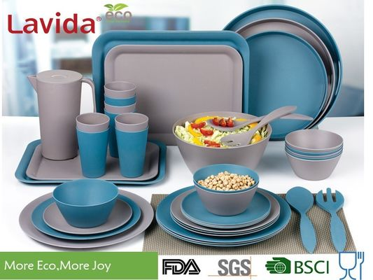 Blue And Gray Bamboo Fiber Dinnerware , Natural Plant Fibre Printed Bamboo Dinner Set