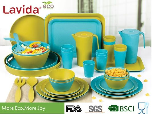 China Biodegradable Bamboo Fiber Dinnerware , Non - Flammable Bamboo Fibre Dinner Set supplier