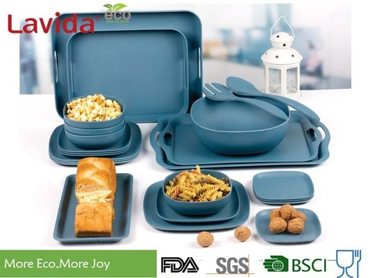 China Food Safe Durable Bamboo Fiber Dinnerware , Square Navy Blue Bamboo Tableware Set supplier