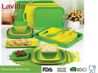 China Recycled Biodegradable Bamboo Fiber Dinnerware Mix And Match Solid Color 16/24 Pieces Set supplier