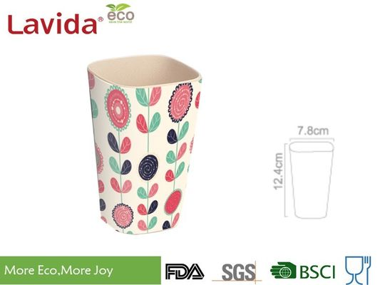 China Firm Sturdy Eco Bamboo Fiber Cup Hand Drawn Flower Printed For Fast Food Restaurant supplier