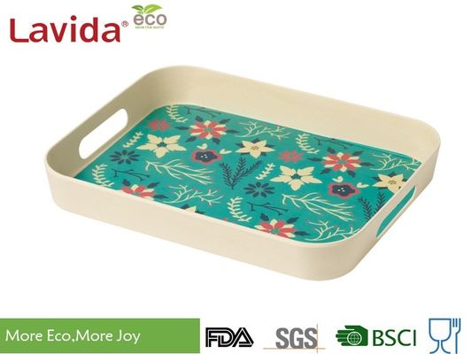 China Best Seller Christmas New Design Natural Plant Fibre Tray Set 2 pieces Bamboo fibre Tray Plastic Food Drink Serving Tray supplier
