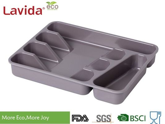 China Top Sell competitive Price Square Eco-friendly Bamboo Fiber Tray Melamine Kitchen Tool Tray PP Flatware Box with logo supplier