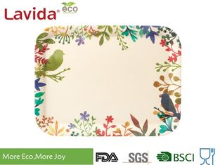 China FDA Pass Hand drawn watercolored flowers birds Disposable Eco-friendly Bamboo Fibre Tray Small Medium Large 3-PC Set supplier
