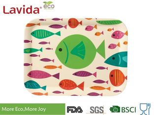 Ocean Fish Style Bamboo Fiber Tray , Shatter Proof Recycled Material Food Serving Trays