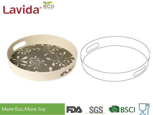 Round Shape Bamboo Food Tray Elegant Gray Phthalate Free With Unique Rustic Texture
