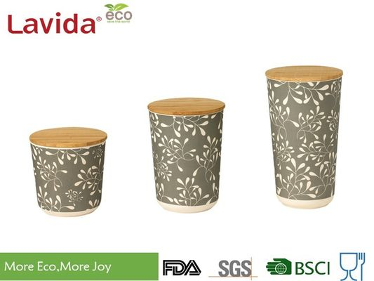 Non - Odor Bamboo Fiber Round Coffee Storage Container Classic Vintage Flower Print