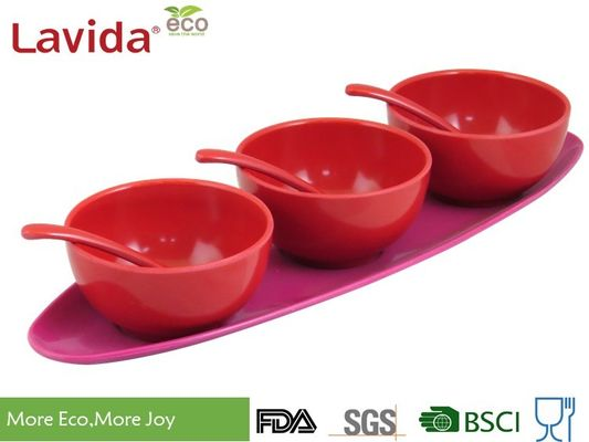 China Snack Condiment Sauce Melamine Serving Trays Unbreakable With 3 - Bowl And 3 - Spoon supplier