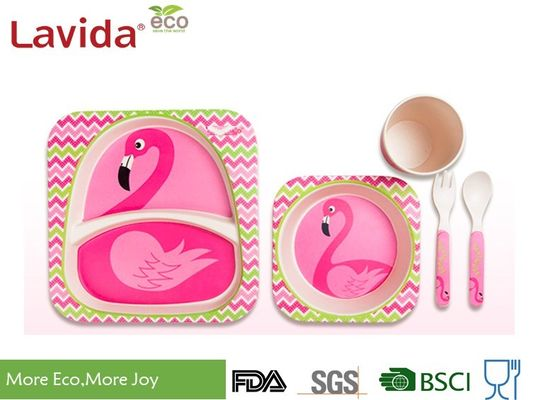 Food Grade Bamboo Childrens Dinner Set BPA Free 5 Pieces Free Heavy Metals